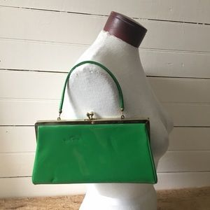 Vintage Kelly Green Patent Leather Purse/Clutch